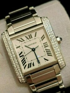 Cartier Tank Francaise Pre Owned Watch Ref 2302 with 100 diamonds added