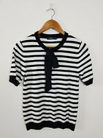 Zara Knit Black & White Stripe Top Women's Size L Bow Short Sleeve Stretch CUTE