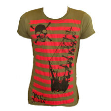 Pike Apparel Mens T Shirt Official Red Striped Design Green Small