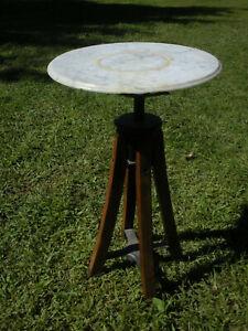 "Vintage Antique Marble Top Industrial Metal Oak Wood Plant Stand Adjustable 15"""