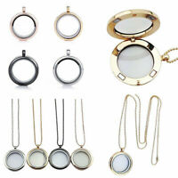30MM Round Living Memory Floating Locket Charms Glass Necklace Pendant Jewelry