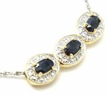 Saphir Diamant Anhänger  925 Silber   Vergoldet   STERLINGSILBER