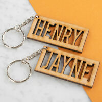 Personalised Wooden Keyring Any Name Engraved Keychain