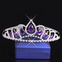 Purple Fashion Crystal Tiara Crown Headband Headwear Bridal Wedding Jewelry SALE