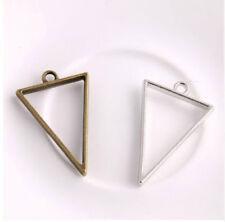30Pcs Triangle Charms Hollow glue blank pendant tray bezel charms