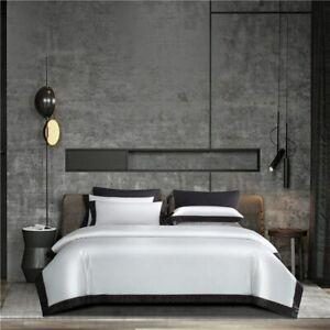 Egyptian Luxury Silk Satin+Cotton Duvet Cover Set 4Pcs Bed Sheet Pillowcase