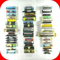 N Scale FLAT CAR Variety Lot - Load, Stake, Piggy Back Trailers -Rapido Couplers