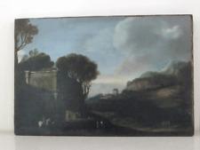 Magnífico firmado Sellado 1770 Antiguo Oleo Sobre Madera Paisaje paisaje caballo +