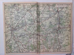 Guildford & Dorking, 1930 Vintage Map, Original