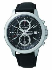 Seiko Men's Black Dial Chrono Strap Watch.