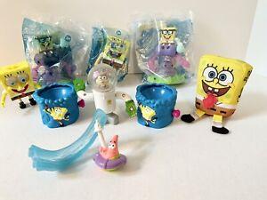 Lot Of 9 SPONGEBOB Squarepants Burger King Toys; 2 NEW Sealed Bags + 6 Assorted