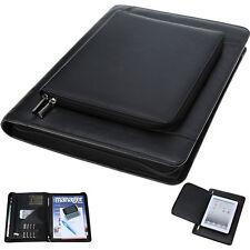 Schreibmappe Salesman Ledermappe iPad Tasche Aktenmappe Konferenzmappe Schwarz