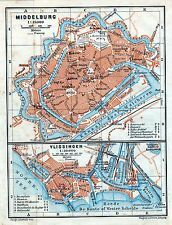 Antique map carte plattegrond Middelburg / Vlissingen Netherlands Holland 1910