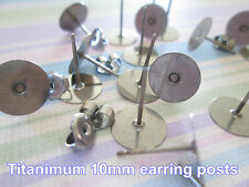 Titanium Nickel Free 10mm Flat-Pad Earring Posts and Backs findings 24pcs
