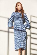 Primark Sold Out Blue White Gingham Checked Summer Dirndl Vintage Dress UK 12