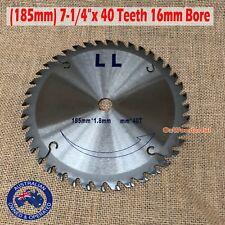"Circular Saw Blade(185mm) 7-1/4""x 40 Teeth 16mm Bore Timber Plastic Cutting"