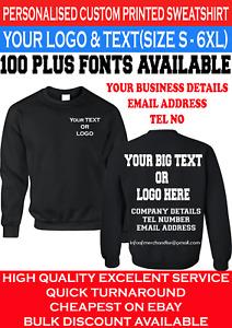 Personalised Custom Printed Sweatshirt Jumper your text, logo uniform workwear