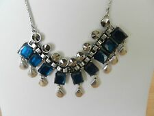 Lucky Brand Silver-Tone Semi-Precious Teal Jade Statement Necklace MSRP $49