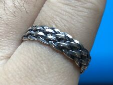 Solid 925 Sterling Silver Mens Knitted Ring Open Adjustable Size