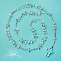 Clear Quartz Crystal Rosary Beads With Clear Quartz Crystal Cross Casa Brazil