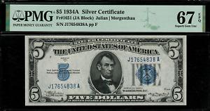 1934A $5 Silver Certificate FR-1651 J-A Block - Graded PMG 67 EPQ - Superb Gem