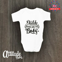 White Plain Baby Grow-With Silly Daddy Print On Front-Baby Vest -Novelty Baby