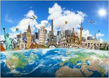 World Map Famous Landmarks Large Poster Art Print A0 A1 A2 A3 A4 Maxi