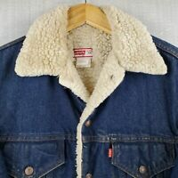 VTG LEVIS USA Made Size 38 Small Mens Sherpa Lined Denim Trucker Jacket #70608