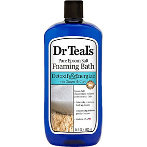 Dr Teal's Foaming Bath with Pure Epsom Salt, Detoxify & Energize with Ginger &