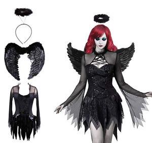Womens Gothic Fallen Angel Costume Sexy Dark Halloween Ladies Fancy Dress Outfit