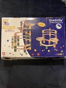 Hape Quadrilla Twist & Rail Wooden Kinetic Marble Run Track Construction USED
