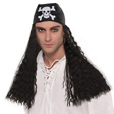Adults Pirate Captain Skull Crossbone Bandana Hair Wig Fancy Dress Accessory UK