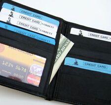 Black Soft Genuine Leather Credit Card ID Money Holder Mens Hipster Wallet