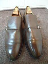 Allen Edmonds Mora 7068 Brown Leather Double Monk Cap Toe Strap Shoes Size 12 D