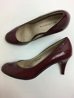 WOMENS M&S BURGUNDY PATENT LEATHER SLIP ON HIGH HEEL SMART COURT SHOES UK 5.5