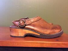Michel Brown Leather Clogs Wooden Heel Brown Leather Buckle Women's Size 2M