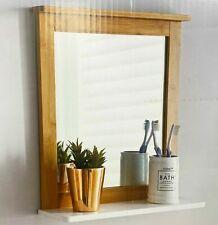 MAINE Bathroom Bamboo Frame Mirror Wall Mounted with Cosmetics Shelf *NEW*