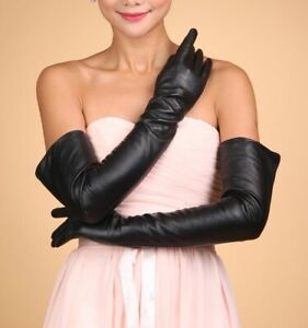 """ESCADA 28"""" LONG Leather GLOVES Size: 7 New SHIP FREE Black Silk Lining ITALY"""