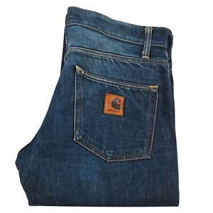 Carhartt Men's Klondike Pants Jeans Button Fly Blue Denim Relaxed Size 33 x 32