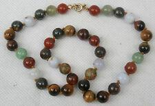"Vintage Crystal Bead Necklace 16"" Assorted mixed gemstones Tigers Eye Jasper etc"