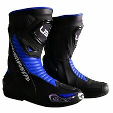 Motorbike Motorcycle Men Blue Leather Racing Riding Long Ankle Biker Boots