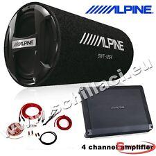 Kit subwoofer tubo 30 cm 1000 watts + Amplificatore 4 canali Alpine + cavi
