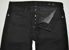 Earnest Sewn Men's Coal Black Fulton Button Fly Straight Jeans 30X28 AWESOME EUC