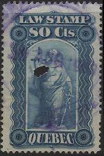 Canada VanDam # QL41 80c blue Quebec Law of 1893
