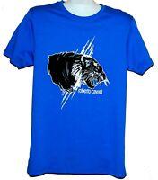 Roberto Cavalli Blue Black Animal Print Design Men's Cotton Shirt T-Shirt Sz XL