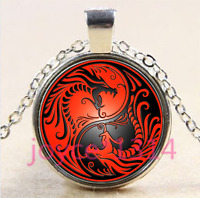 Yin Yang Dragon Cabochon Tibetan silver Glass Chain Pendant Necklace #4405