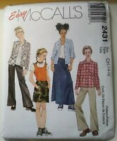Easy McCalls Sewing Pattern 2431 Children size 7 8 10 Pants Top Skirt Shirt