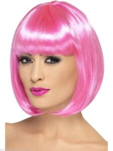 "Pink Bob Wig Wear It Pink Partyrama Ladies 12"" Fancy Dress Costume Accessory"