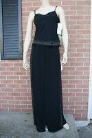 Women's BETSY & ADAM BY ASLENE 2pc Top & Sheer Wide Pants Black Stones 8 RP$149.