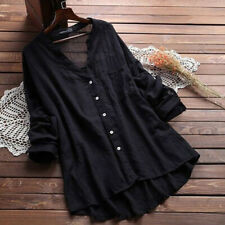 Plus Size Womens Loose V Neck Long Sleeve Blouse Top Summer Tunic Casual T-shirt